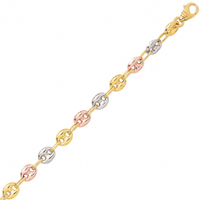 Bracelet en or Grain de Café 3.5 mm trois ors - 4.75g Leina