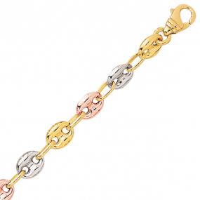 Bracelet en or Grain de Café 6 mm trois ors - 8.15g Gabrielle
