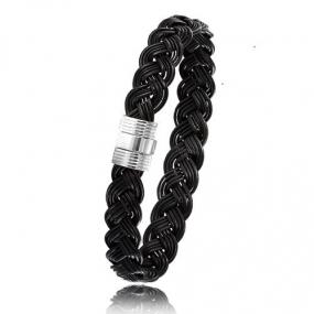 - Bracelet en Poils d'éléphant et or 8g - 9 mm Kira - 606TELORblanc