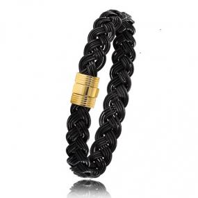 - Bracelet en Poils d'éléphant et or 8g - 9 mm Stefania - 606TELORjaune