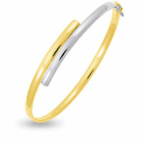Bracelet jonc ouvrant 4mm Or jaune et or blanc 4.8 g Manon