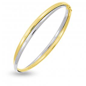 Bracelet jonc ouvrant 6mm Or jaune et or blanc 4.8 g K�lia