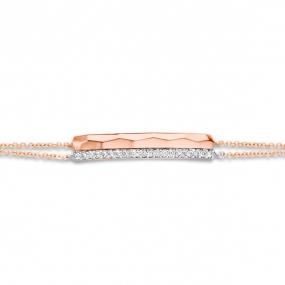 Bracelet Or Rose Diamant Blanc - One More Clémence - 055163-A