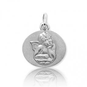 Médaille ange Or Blanc  Marylène