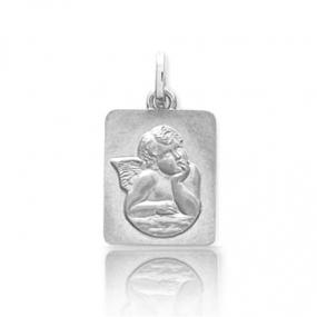 Médaille ange Or Blanc  Sabrina