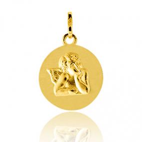 Médaille ange Or Jaune 13 mm Virginie