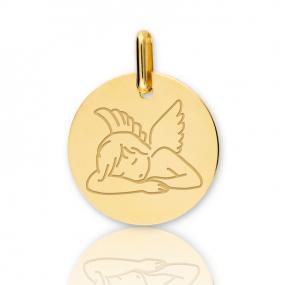 Médaille ange Or Jaune 15 mm Attachement - XR1514