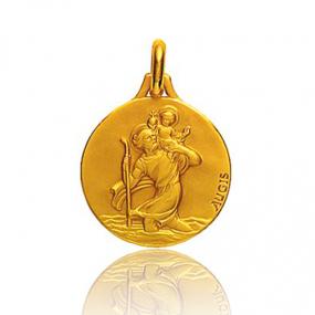 Médaille Saint Christophe Augis patine main Or Jaune 1.85g Élya - 3500031900