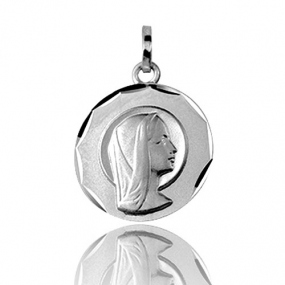 M�daille vierge  Or Blanc 15 mm Na�a