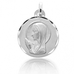 Médaille vierge  Or Blanc 16 mm Catarina