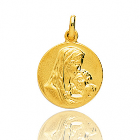 Médaille vierge  Or Jaune 15 mm Eshana