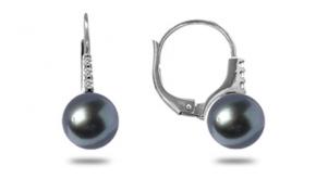 Boucle d'oreille perle noire tahiti