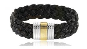 Bracelet homme cuir or jaune