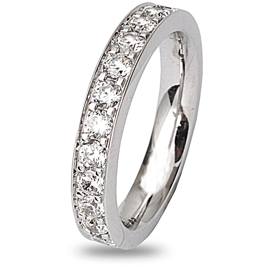 Alliance diamant tour complet serti grains 1.50 ct Lune en Or Blanc