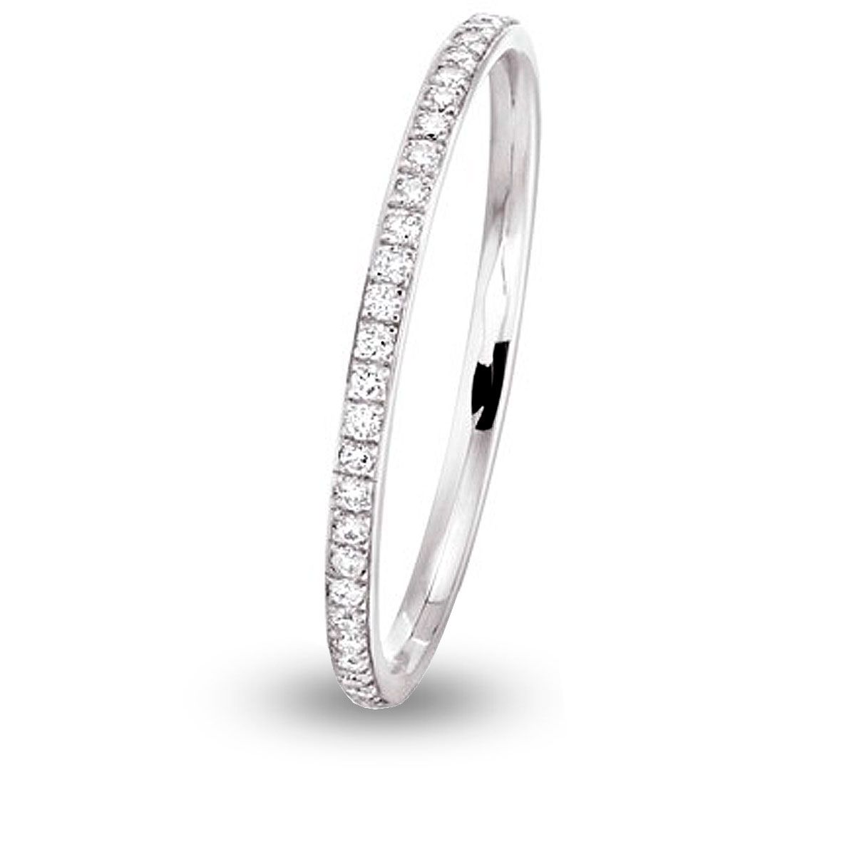 Alliance Jonc Parisien Diamant Tour Complet Or Blanc 0 28 Ct Ioana