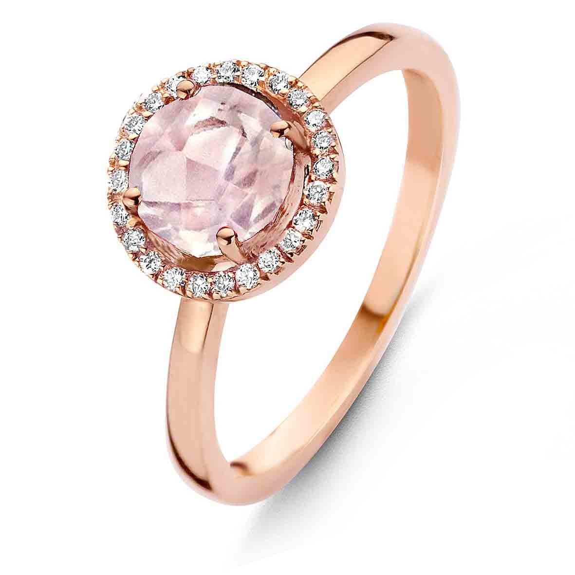 bague quartz rose diamants. Black Bedroom Furniture Sets. Home Design Ideas