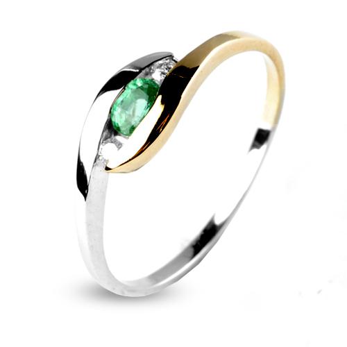 Préférence Bague émeraude en 2 Ors diamant Coralie - 12574-EM WN21