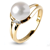 bague perle blanche diamant sauvahna en or jaune 520793 b. Black Bedroom Furniture Sets. Home Design Ideas