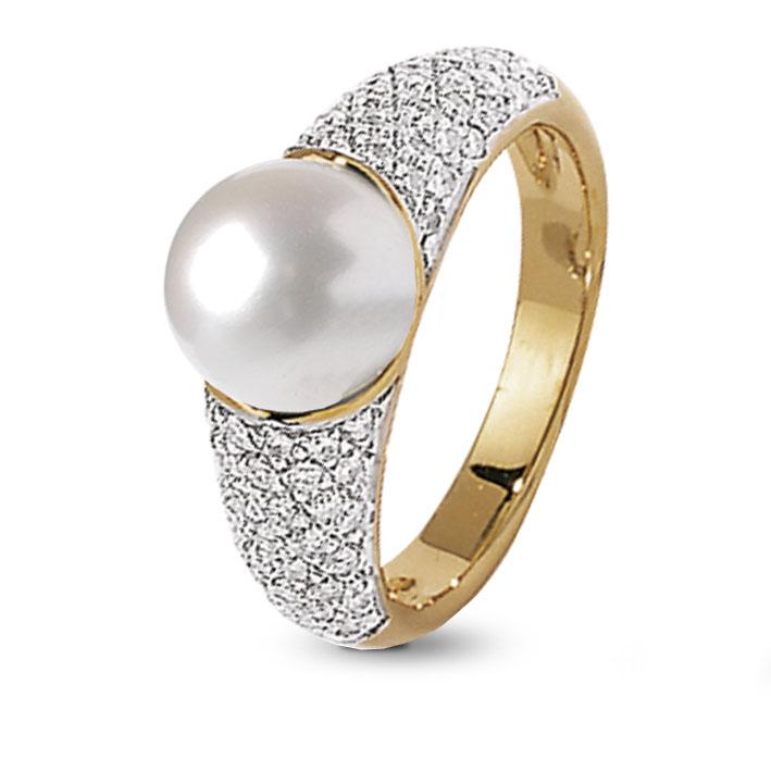 bague perle d'or