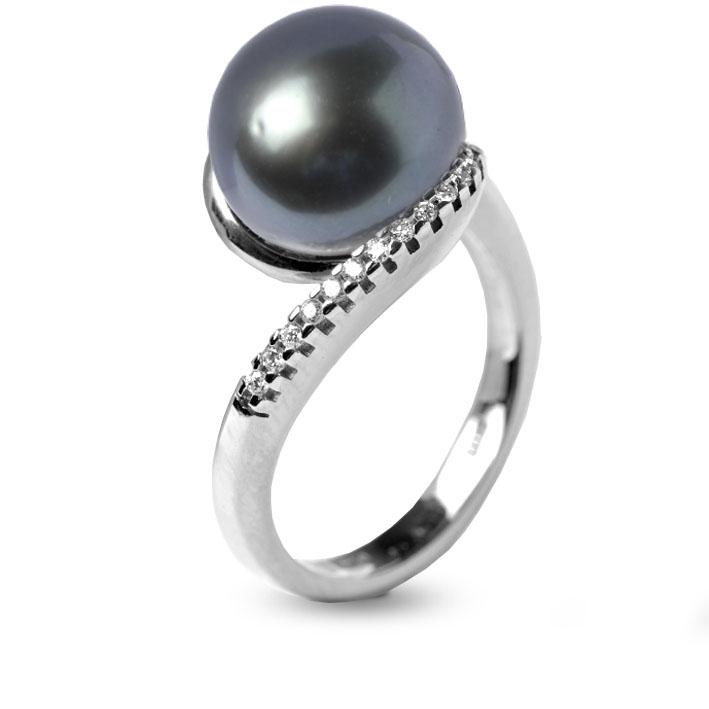 bague perle de tahiti diamant titaina en or blanc 520806tabl. Black Bedroom Furniture Sets. Home Design Ideas