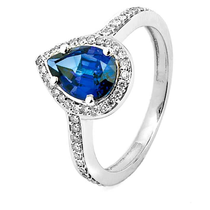 Fabuleux Bague saphir bleu en Or Blanc - R8516FMPWAY14 HE68
