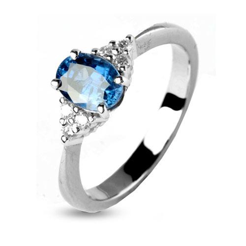 Favori Bague saphir bleu en Or Blanc Alixe - 11889-SA GO75