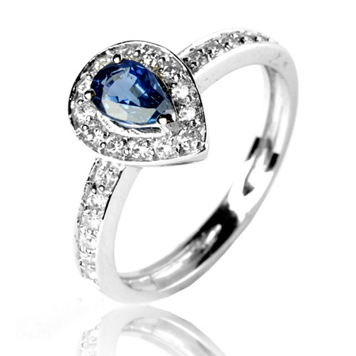 Bien-aimé Bague saphir bleu en Or Blanc Annabelle - 12531 SA HM52