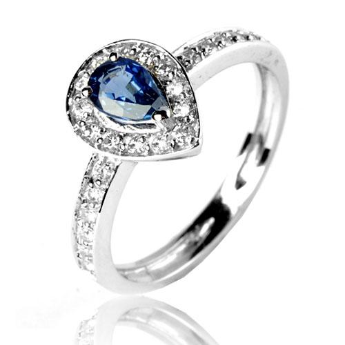 Exceptionnel Bague saphir bleu en Or Blanc Annabelle - 12531 SA PN24