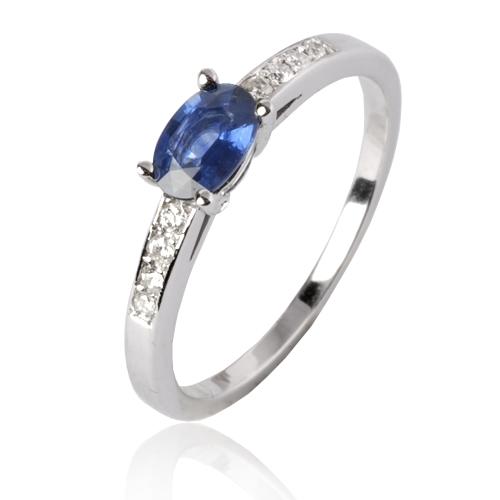 Favori Bague saphir bleu en Or Blanc Camille - 12082 SA GO75