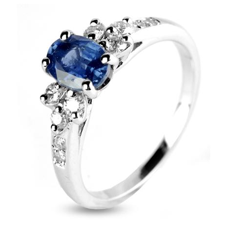 Favori Bague saphir bleu en Or Blanc Heidi - 12435-SA GO75