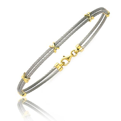 Bracelet Cable acier et or 18 cm Agathe , 6214PM