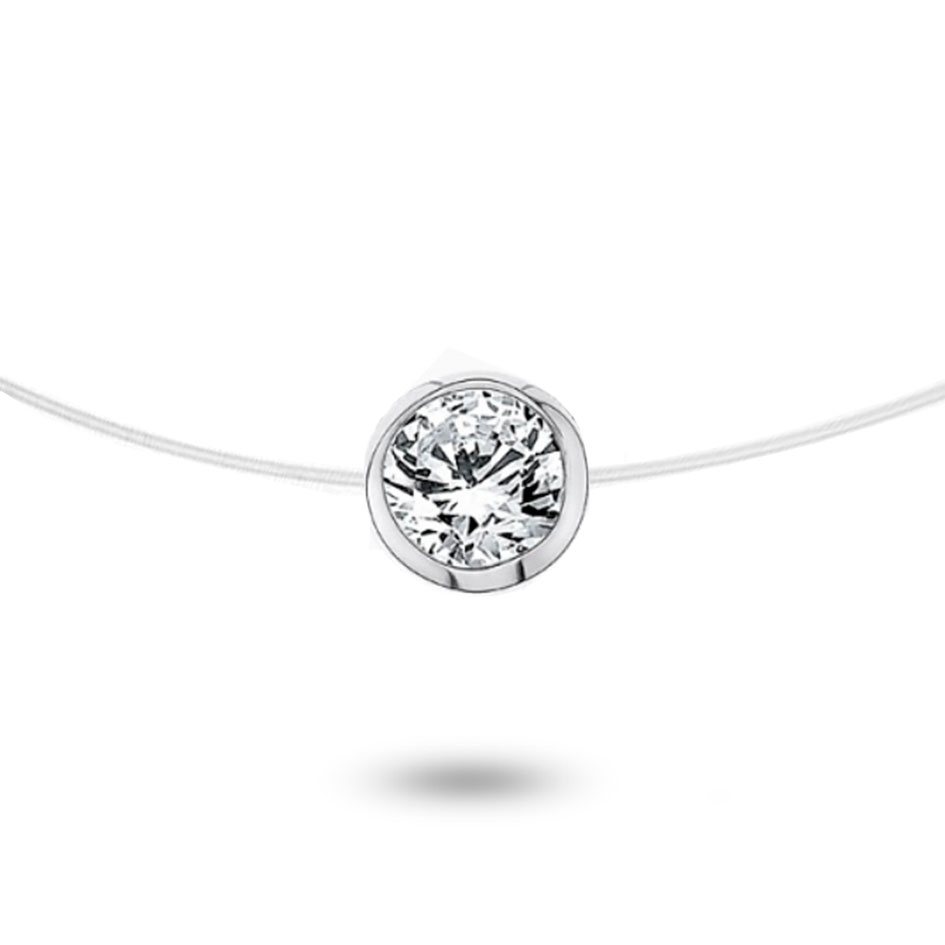 collier diamant sur fil nylon