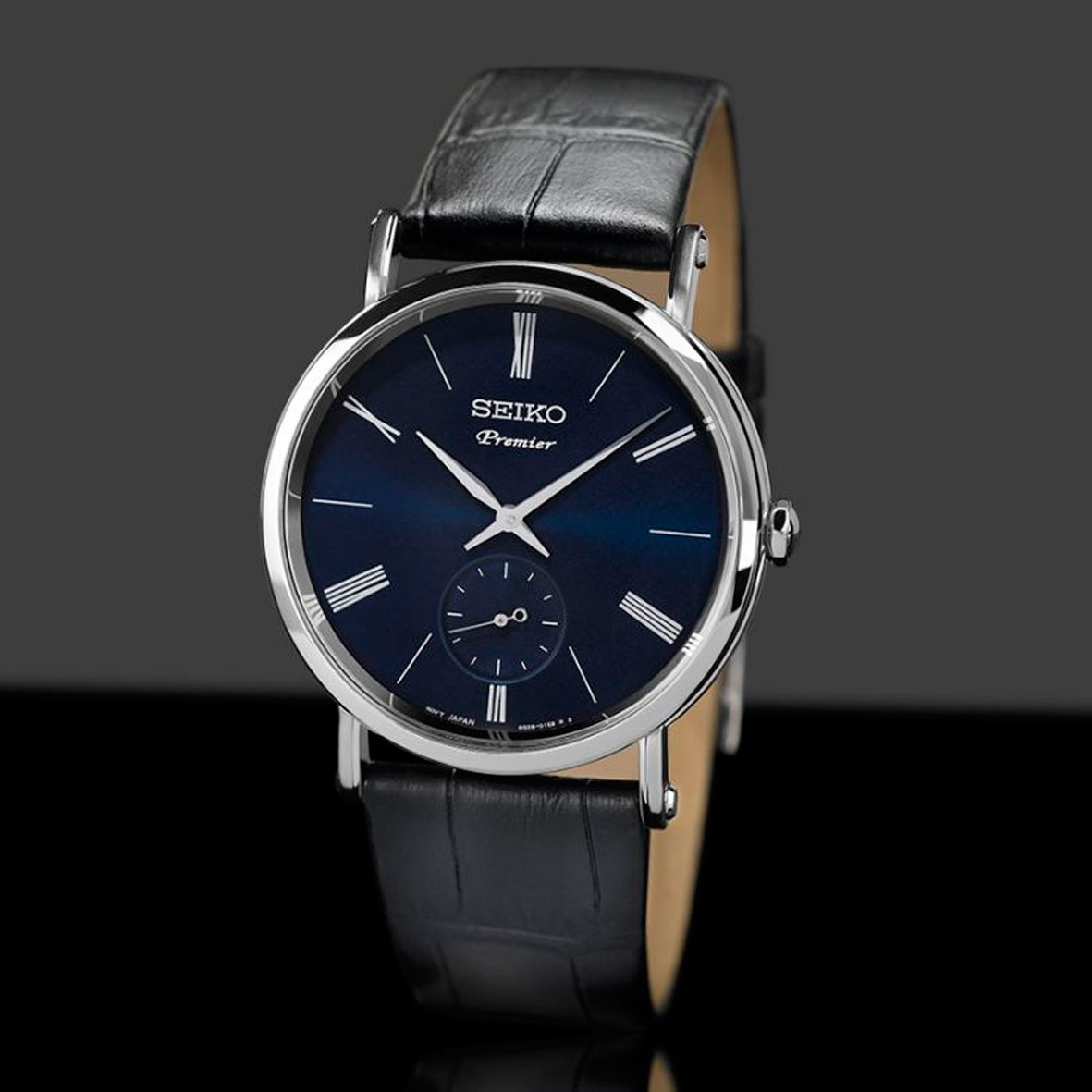 montre seiko premier srk037p1 cadran bleu. Black Bedroom Furniture Sets. Home Design Ideas