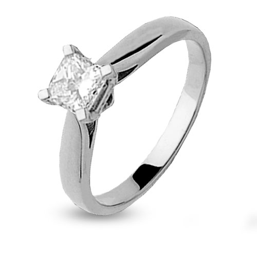 1e4718ec4e0 Solitaire or blanc diamant princesse 0.20 ct Laura - 4S050